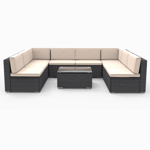 9 Pieces Patio PE Rattan Wicker Sofa Set Outdoor Sectional Furniture Conversation Chairs Set with Cushions and Tea Table Black