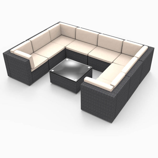 9 Pieces Patio PE Rattan Wicker Sofa Set Outdoor Sectional Furniture Conversation Chair Set with Cushions and Tea Table Black