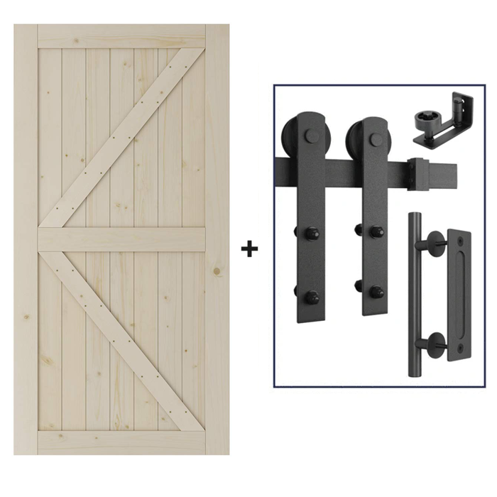 6 Ft Heavy Duty Barn Door Track Kit With Door (Whole Set, I Shape)