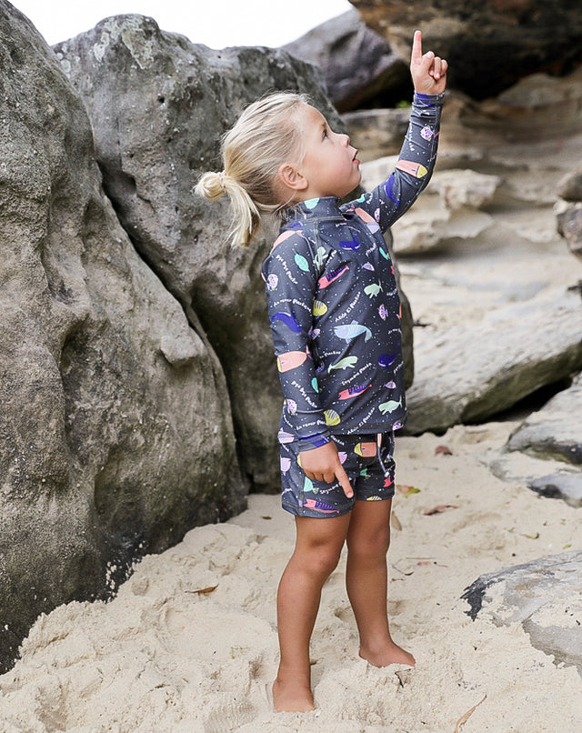 Bye Bye Plastic Charcoal Sea & Snow Rash Top