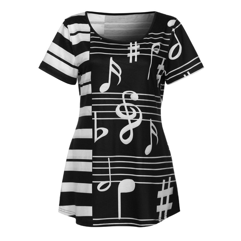 Women Ladies Musical Note Printing T-Shirt Short Sleeve Casual Tops Blouse