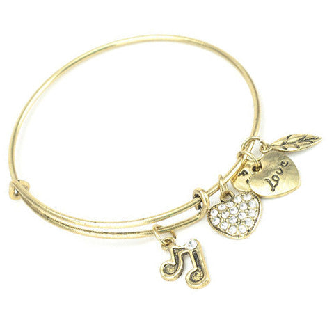 Music Note Charm Bangle