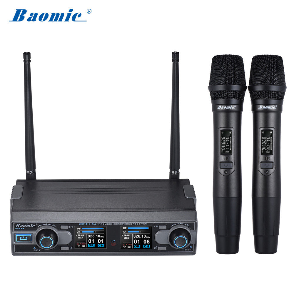 Baomic D-332 Pro Dual Channel UHF Digital Wireless Handheld Microphone System 2 Microphones & 1 Receiver