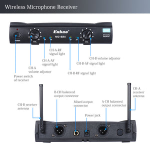 Enbao MD-82X UHF Wireless Handheld Dual Microphone System 2 Microphones Mic Receiver