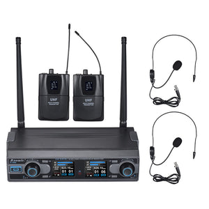 Baomic D-332 Professional Dual Channel UHF Digital Wireless Headset Microphone System 2 Microphones & 1 Receiver