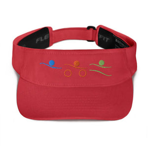 Visor - Tri-Icons Colors Design Triathlon Inspires Store Red