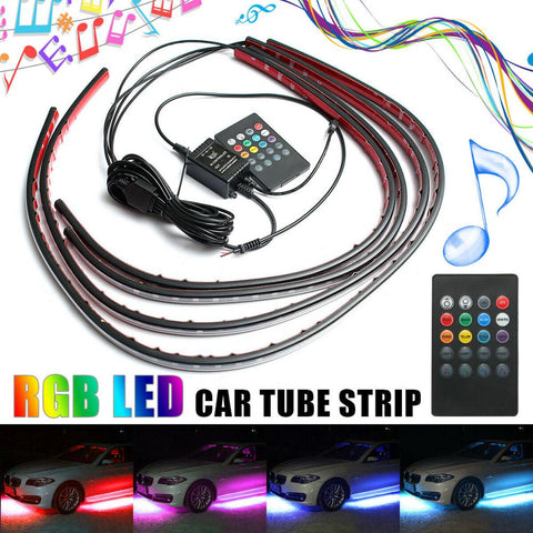 60/90cm 4X Car RGB LED Strip Light Under Car Underglow Flexible Strip LED Remote Control