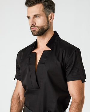 Star Neck Shirt - Black