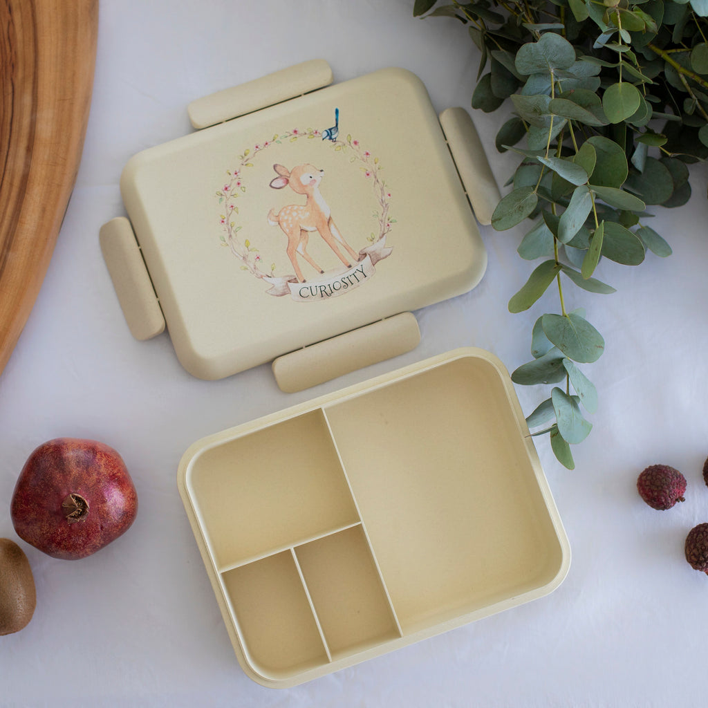 Boo and Crew Bamboo Bento Box Lunch Box  Fawn Natural