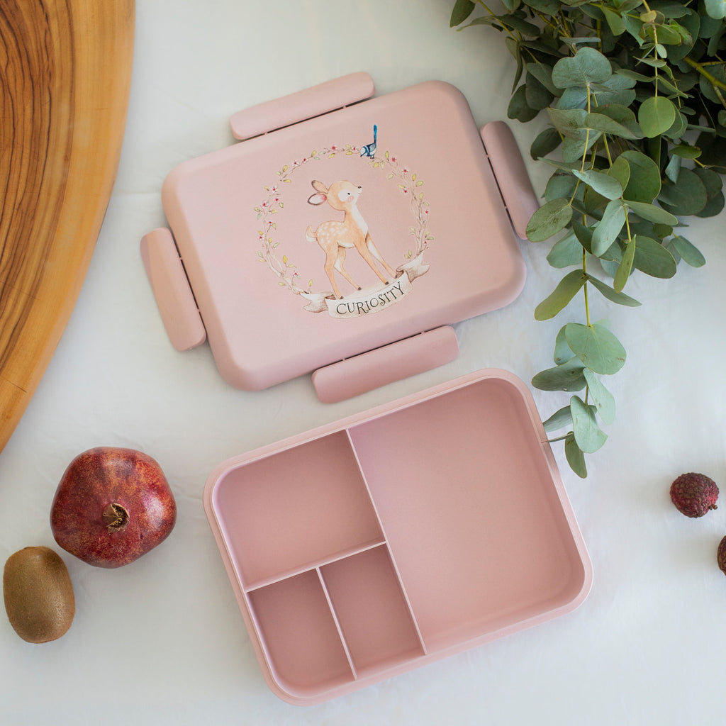 Boo and Crew Bamboo Bento Box Lunch Box  Fawn Pink