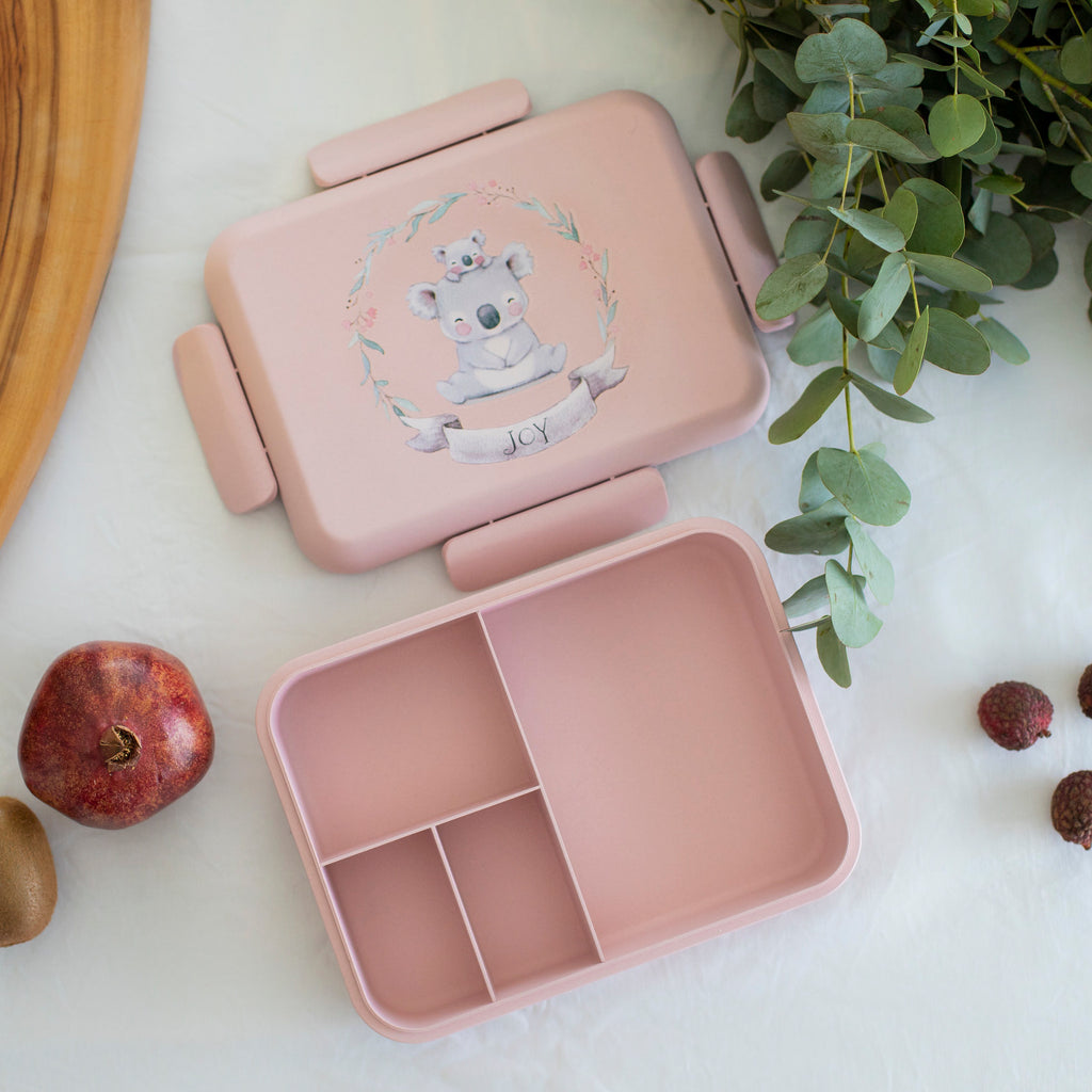 Boo and Crew Bamboo Bento Box Lunch Box  Koala Pink