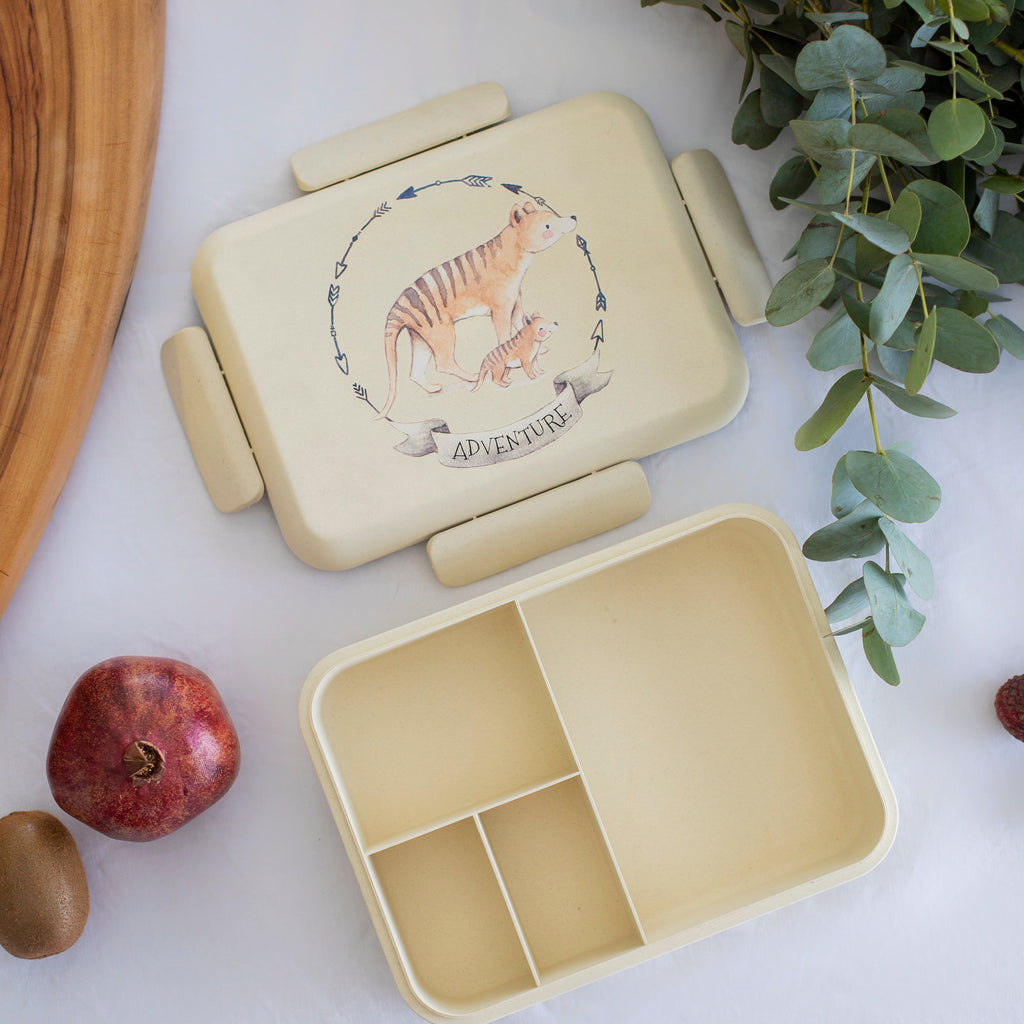 Boo and Crew Bamboo Bento Box Lunch Box  Tasmanian Tiger Natural