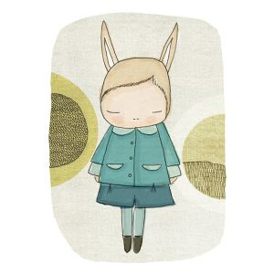 Nomuu Kids Wall Art  Flissy Floss Bunny With Blue Coat