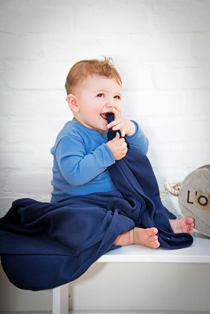 Loved Baby Organic Cotton Swaddle Blanket - Navy