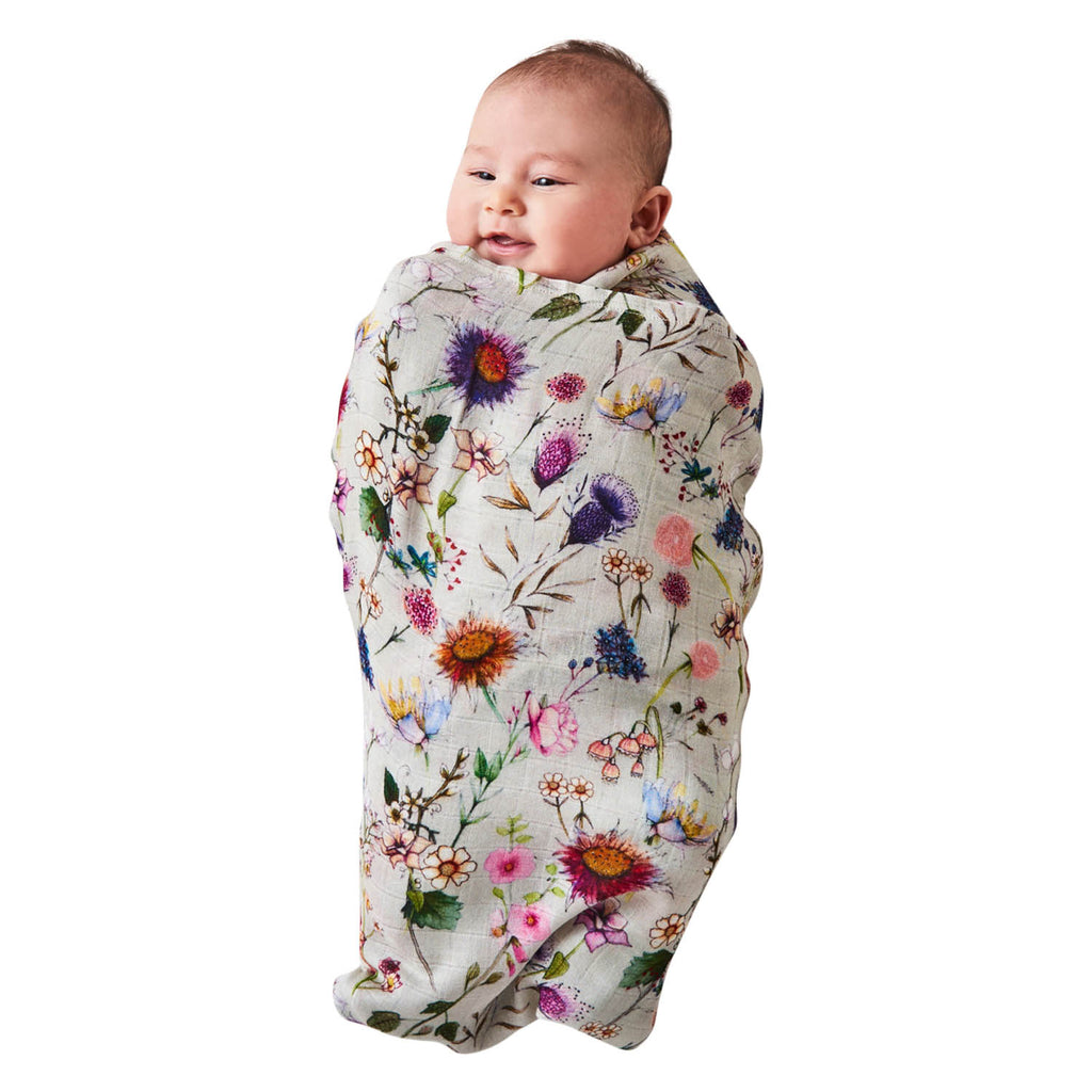 Kip & Co Bouquet Cream Bamboo Baby Swaddle Wrap