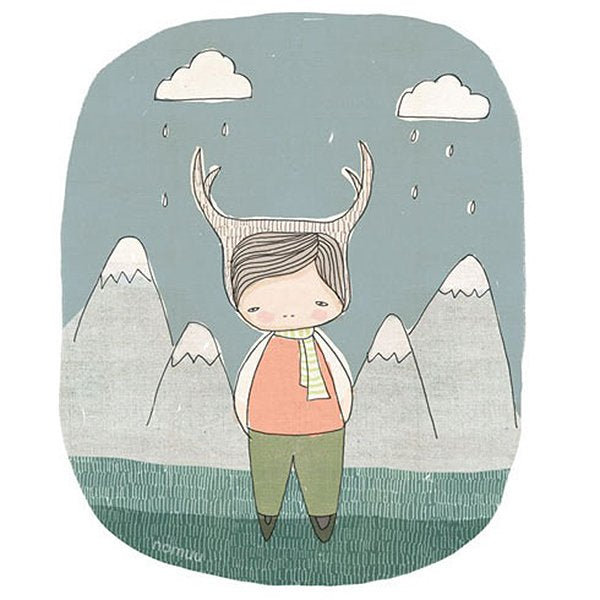 Nomuu Kids Wall Art  Deer Boy (Green Grass) Mountains and Raindrops