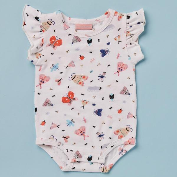 Halcyon Night Baby Clothes  Love Bug Butterfly and Beetle Summer Bodysuit with Frills