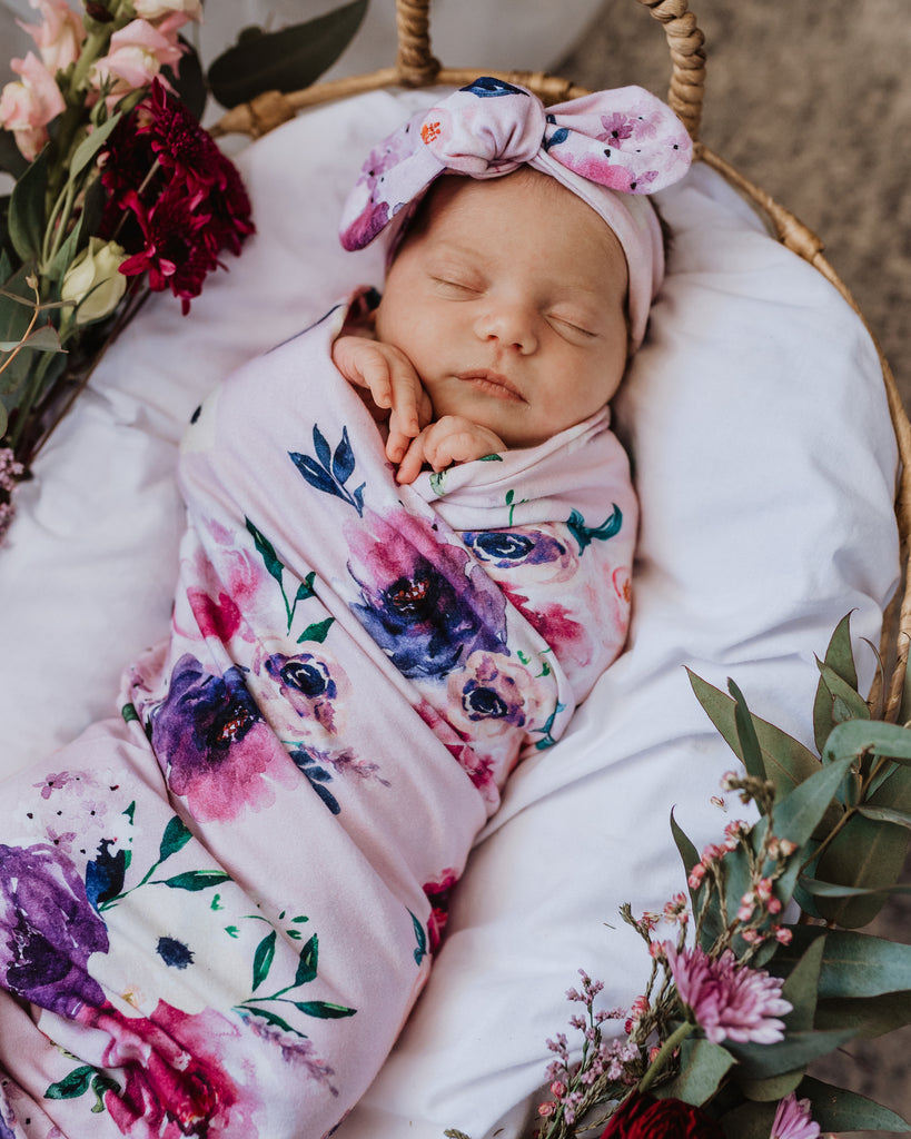 Snuggle Hunny Kids Baby Jersey Swaddle Wrap and Top Knot Set - Floral Kiss