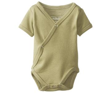 Loved Baby Organic Short sleeved Kimono Bodysuit Light Grey