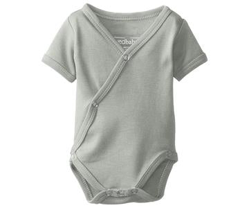 Loved Baby Organic Cotton Shortsleeved Kimono Bodysuit  Stone