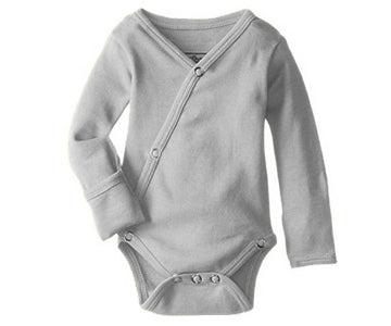 Loved Baby Organic Kimono Long-sleeve Bodysuit - Light Grey