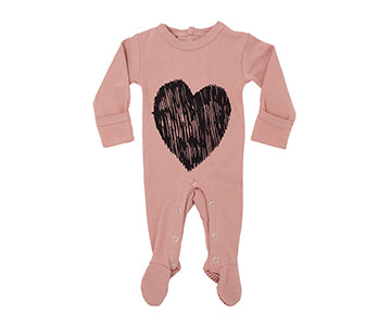Loved Baby Organic Cotton Footed Onesie  Mauve with Heart Print