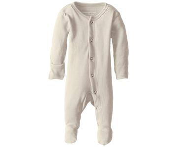 Loved Baby Organic Cotton Footed Onesie  Beige