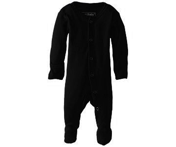 Loved Baby Organic Cotton Footed Onesie  Black