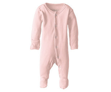Loved Baby Organic Cotton Footed Onesie  Blush Pink