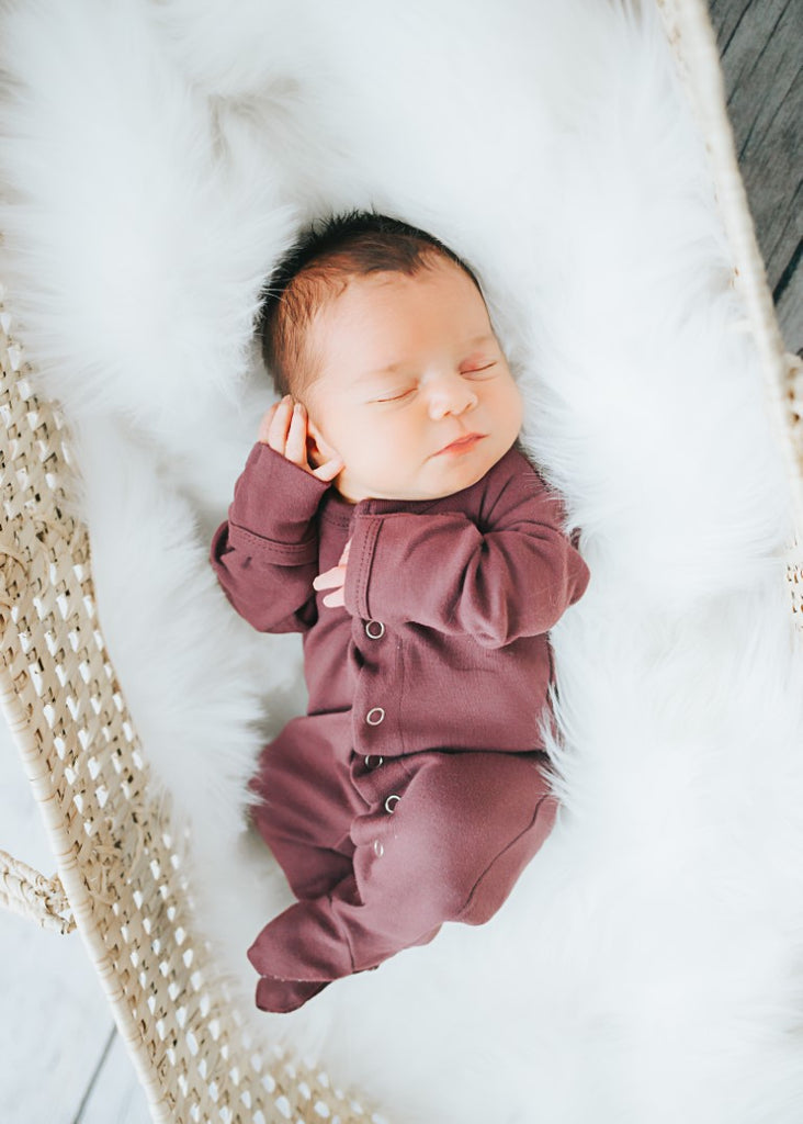 Loved Baby Organic Cotton Footed Onesie - Eggplant