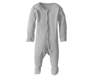 Loved Baby Organic Footed Onesie Light Grey
