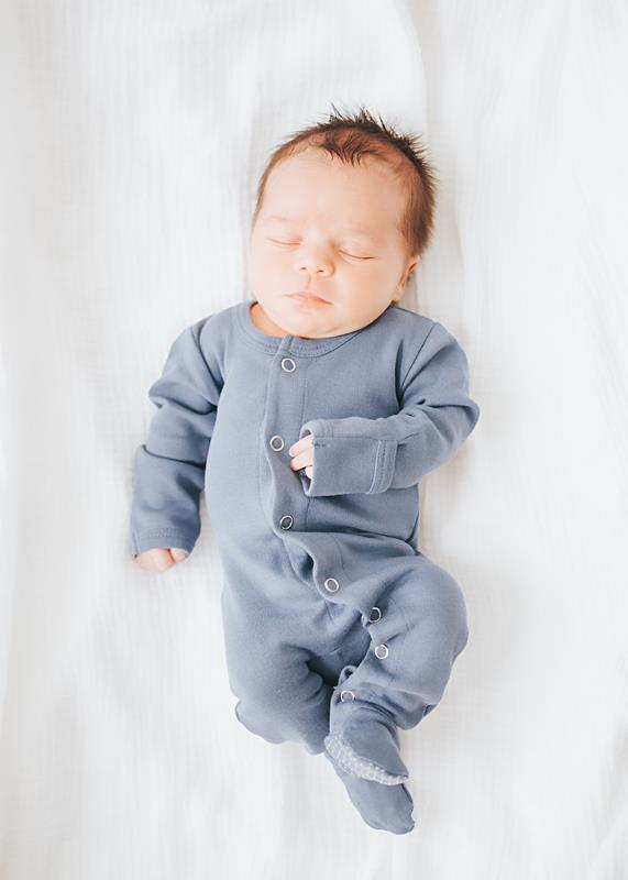 Loved Baby Organic Cotton Footed Onesie  Light Grey