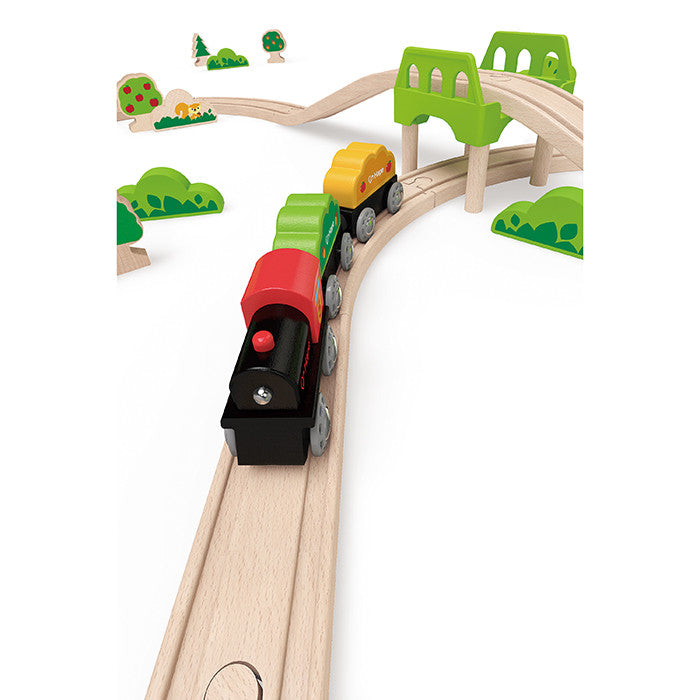 Hape Toys   54 Pieces Forest Railway Set