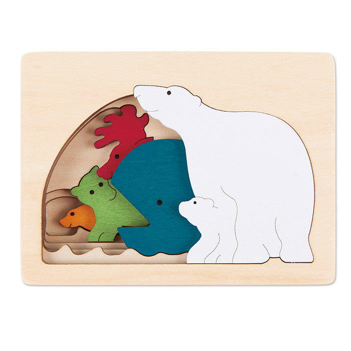 George Luck Polar Animals Wooden Puzzle 5 Pieces