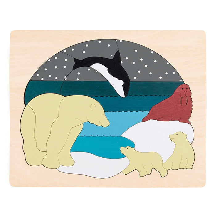 George Luck Arctic Animals Wooden Puzzle 33 Pieces