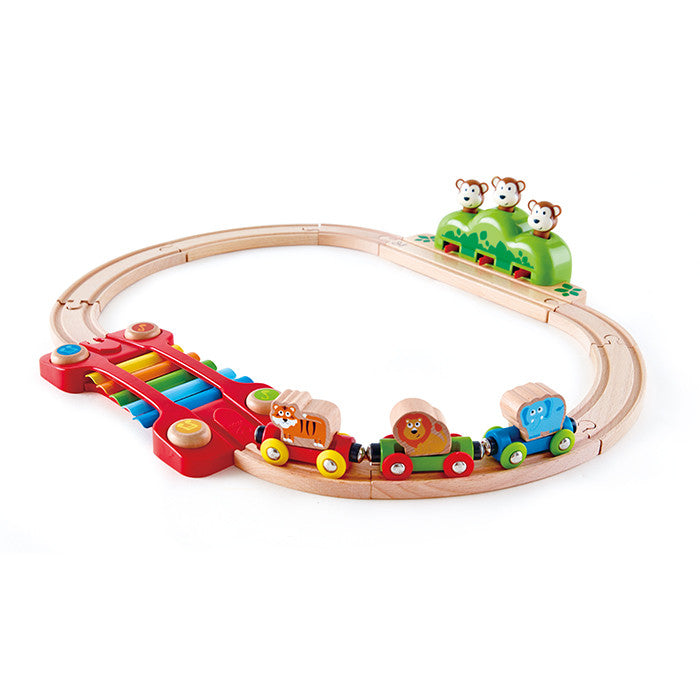 Hape Toys -  19 Pieces Music and Monkeys Railway Set