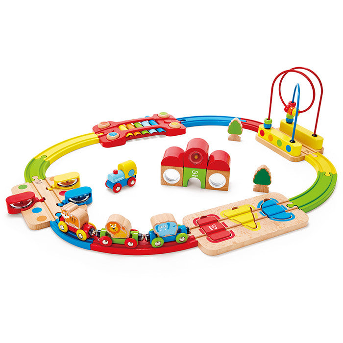 Hape Toys   30 Piece Rainbow Puzzle Railway Set