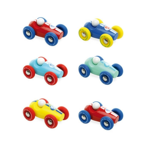 Assortment of 6 Mini Wooden Race Cars