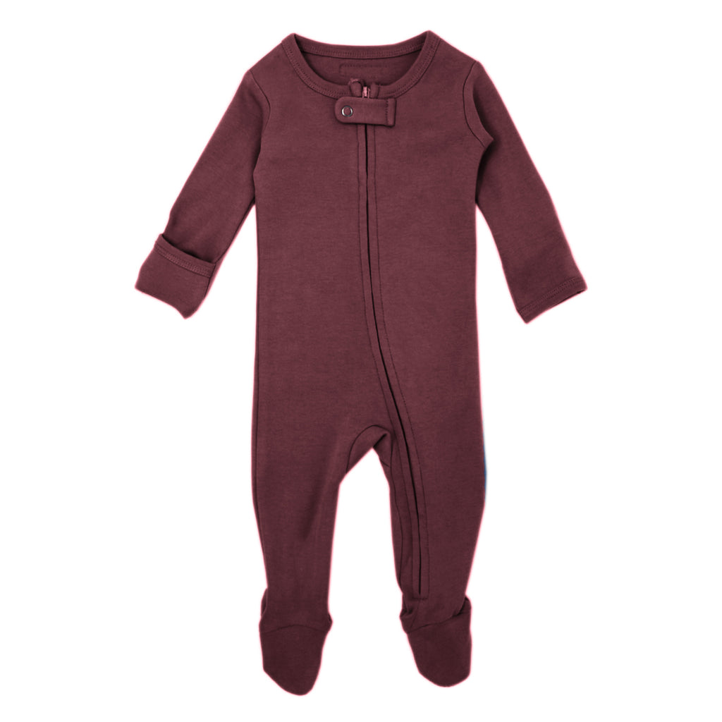 Loved Baby Organic Cotton Footed ZIP Onesie - Eggplant
