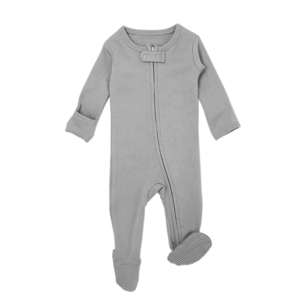 Loved Baby Organic Cotton Footed ZIP Onesie - Light Grey