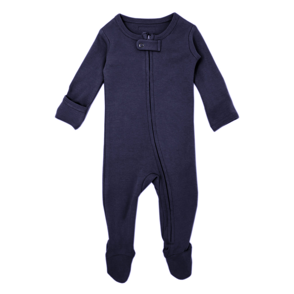 Loved Baby Organic Cotton Footed ZIP Onesie - Navy