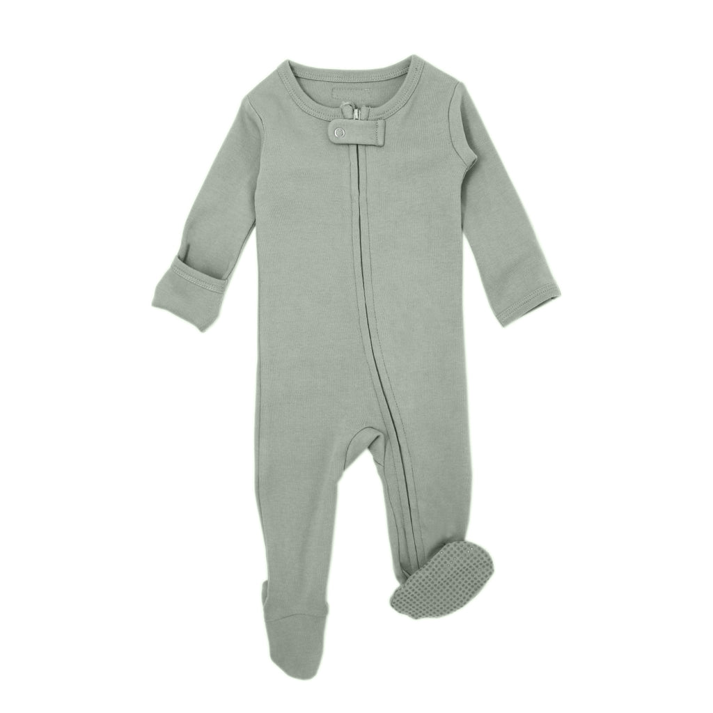 Loved Baby Organic Cotton Footed ZIP Onesie - Seafoam