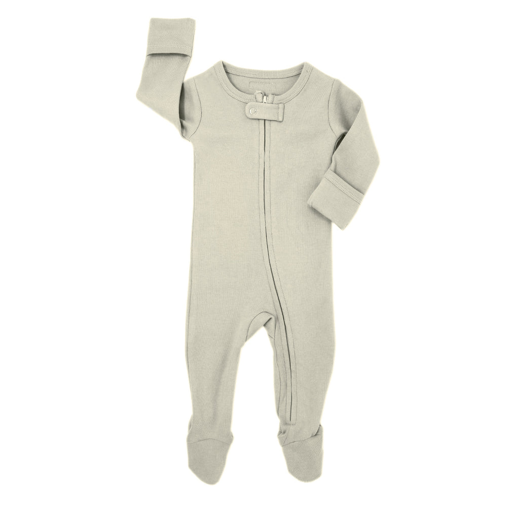 Loved Baby Organic Cotton Footed ZIP Onesie - Stone