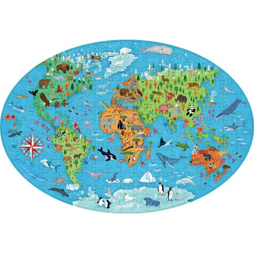 Sassi - Travel, Learn and Explore Endangered Animals Puzzle and Book Set