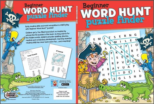 Beaver Learning Books - Beginner Word Hunt Puzzle Finder