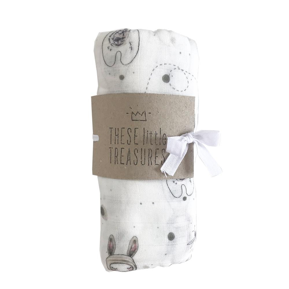 These Little Treasures Organic Baby Swaddle - Bunny
