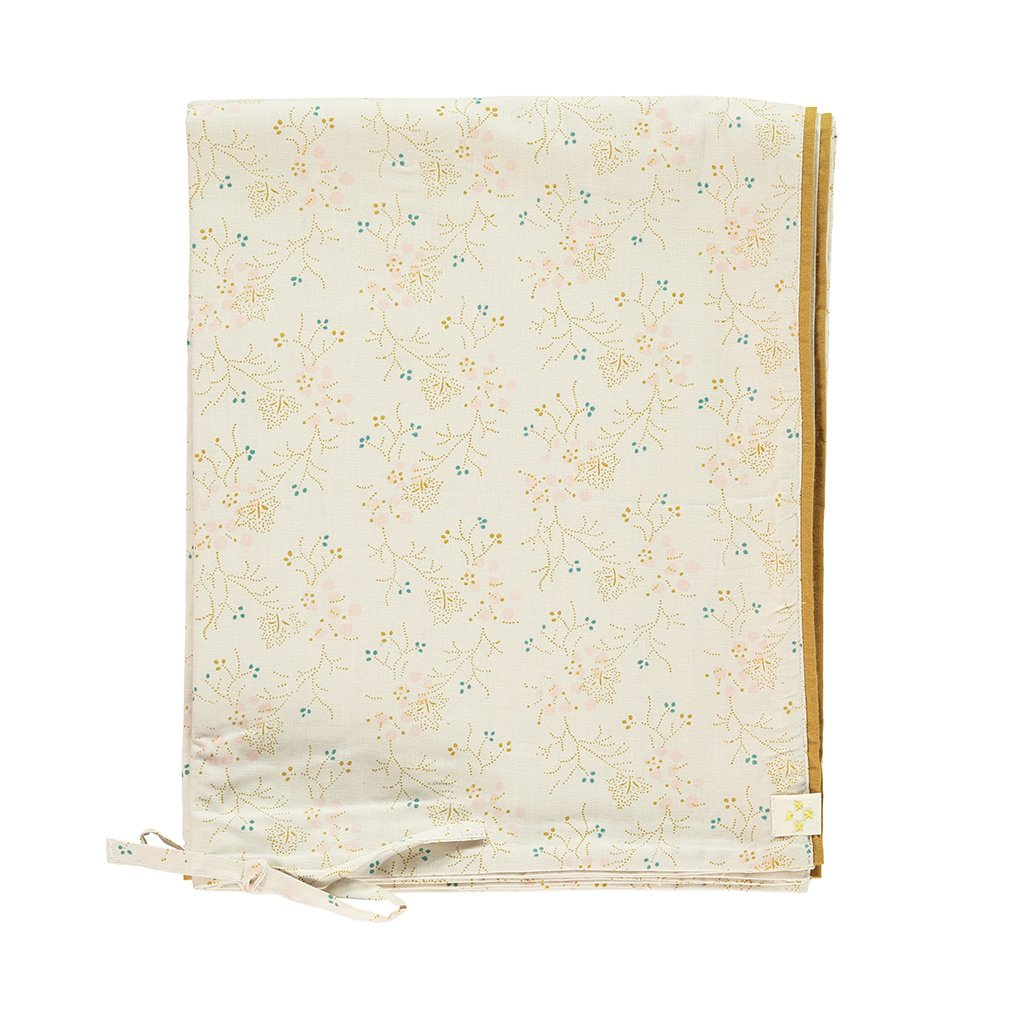 Camomile London Quilt Cover - Minako Floral Golden and Stone