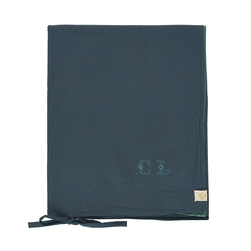 Camomile London Reversible Quilt Cover - Midnight Blue and Teal