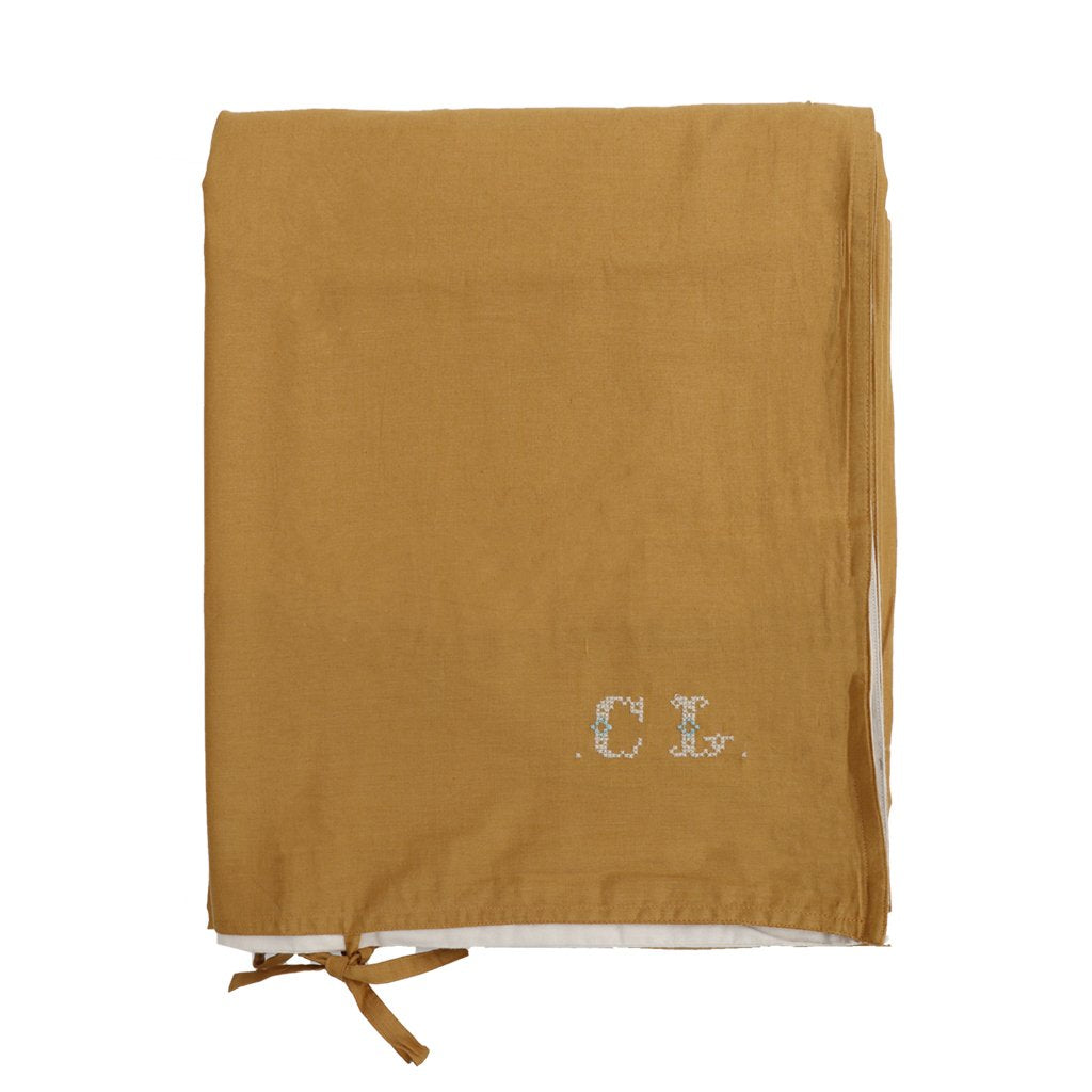 Camomile London Reversible Quilt Cover - Ochre and Stone