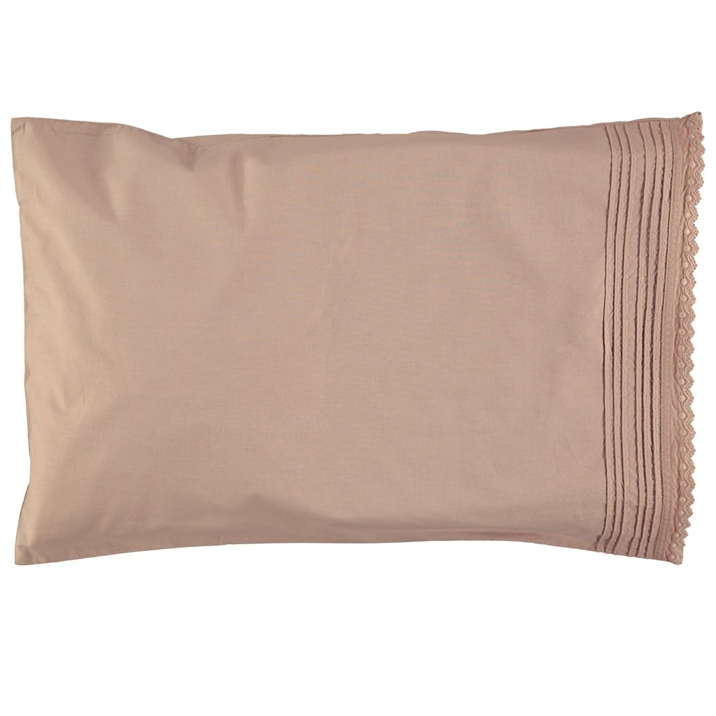 Camomile London Kids Bedding Pin Tuck Embroidered Pillowcase - Clay Pink